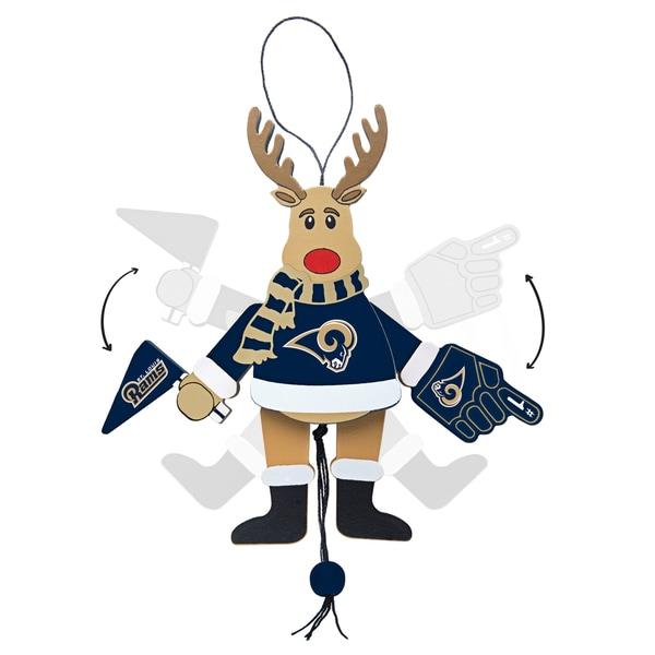 St. Louis Rams Wooden Cheering Reindeer Ornament