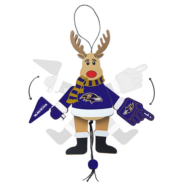 Baltimore Ravens Wooden Cheering Reindeer Ornament