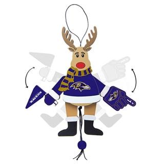 Baltimore Ravens Wooden Cheering Reindeer Ornament