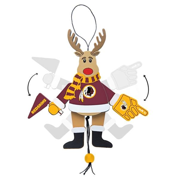 Washington Redskins Wooden Cheering Reindeer Ornament