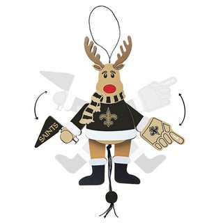 New Orleans Saints Wooden Cheering Reindeer Ornament