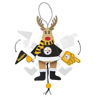 Pittsburgh Steelers Wooden Cheering Reindeer Ornament