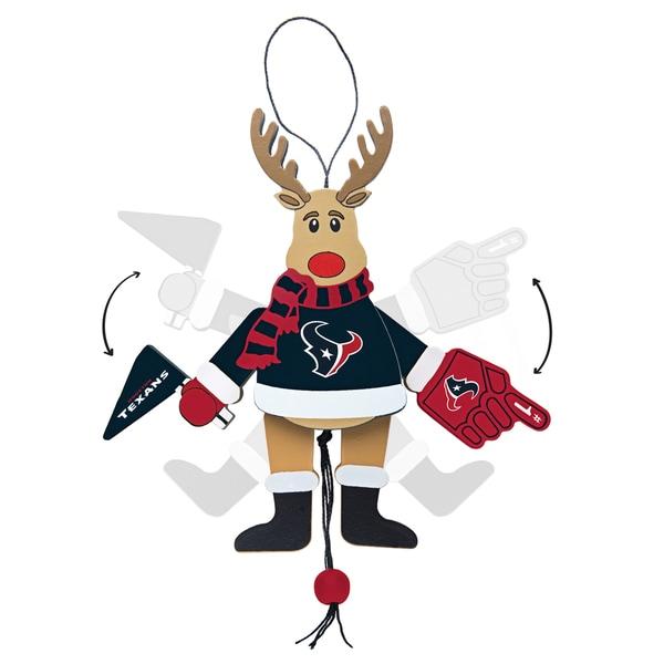 Houston Texans Wooden Cheering Reindeer Ornament