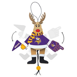 Minnesota Vikings Wooden Cheering Reindeer Ornament