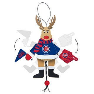 Chicago Cubs Wooden Cheering Reindeer Ornament