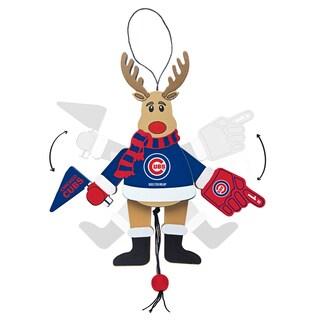 Chicago Cubs Wooden Cheering Reindeer Ornament