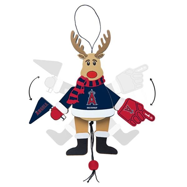 Los Angeles Angels Wooden Cheering Reindeer Ornament
