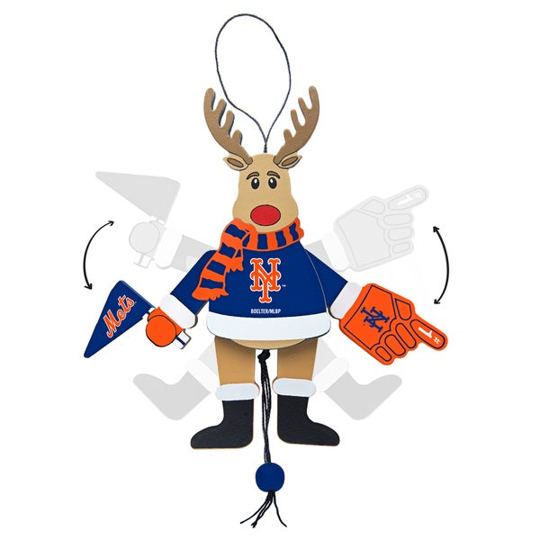 New York Mets Wooden Cheering Reindeer Ornament