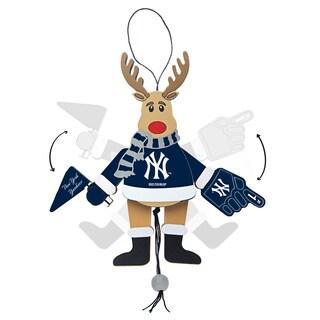 New York Yankees Wooden Cheering Reindeer Ornament