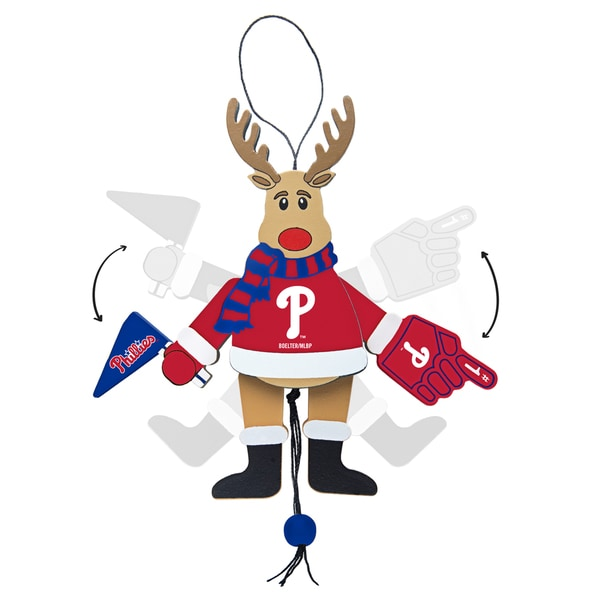Philadelphia Phillies Wooden Cheering Reindeer Ornament