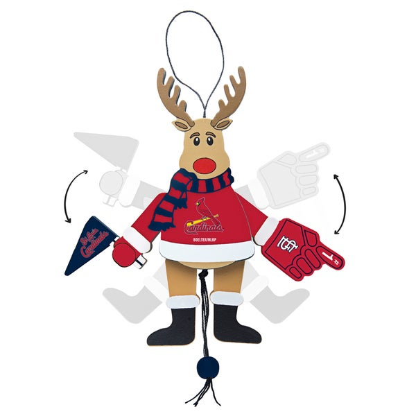 St. Louis Cardinals Wooden Cheering Reindeer Ornament