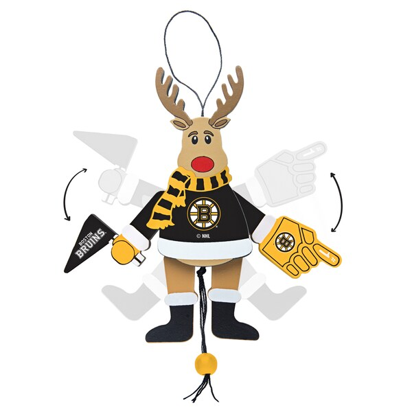 Boston Bruins Wooden Cheering Reindeer Ornament