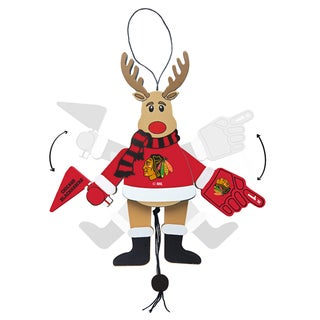 Chicago Blackhawks Wooden Cheering Reindeer Ornament