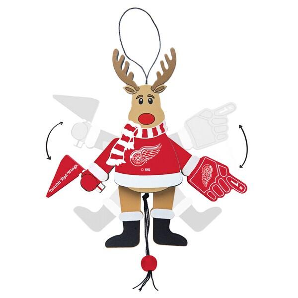 Detroit Redwings Wooden Cheering Reindeer Ornament