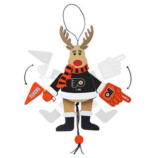 Philadelphia Flyers Wooden Cheering Reindeer Ornament