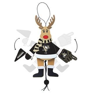 Pittsburg Penguins Wooden Cheering Reindeer Ornament