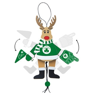 Boston Celtics Wooden Cheering Reindeer Ornament