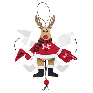 Chicago Bulls Wooden Cheering Reindeer Ornament