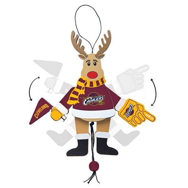 Cleveland Cavilers Wooden Cheering Reindeer Ornament