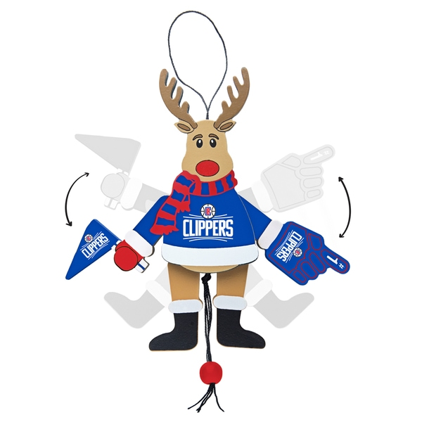 Loos Angeles Clippers Wooden Cheering Reindeer Ornament