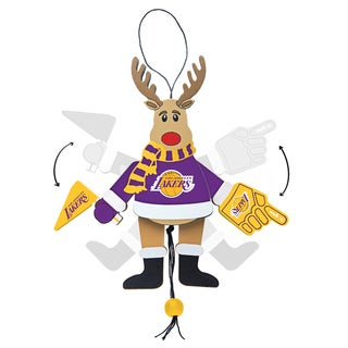 Los Angeles Lakers Wooden Cheering Reindeer Ornament