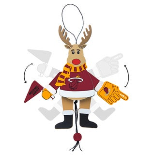 Miami Heat Wooden Cheering Reindeer Ornament