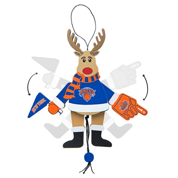 New York Knicks Wooden Cheering Reindeer Ornament