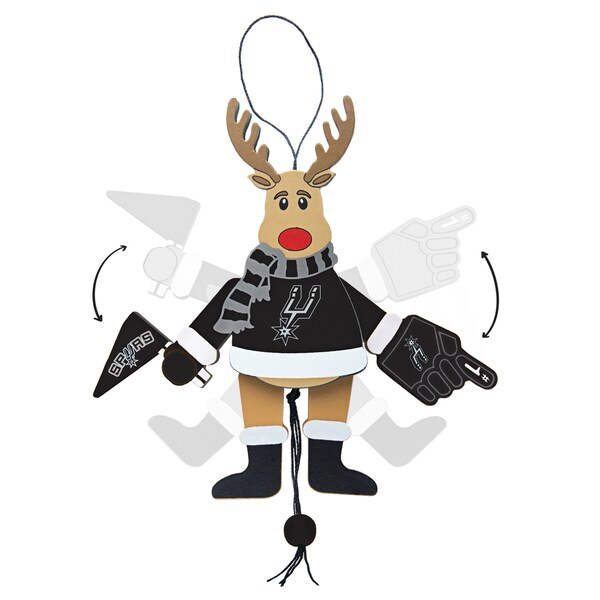 San Antonio Spurs Wooden Cheering Reindeer Ornament