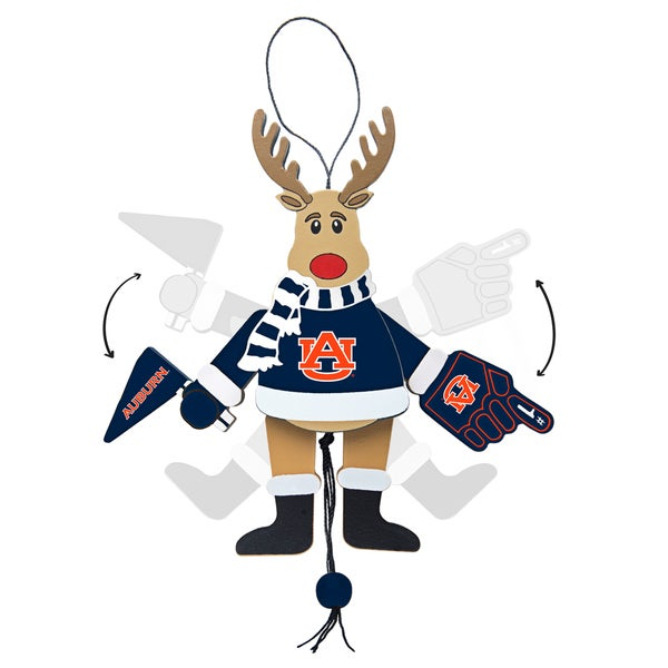 Auburn Tigers Wooden Cheering Reindeer Ornament