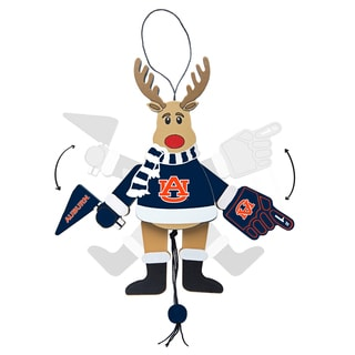 Auburn Tigers Wooden Cheering Reindeer Ornament