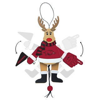 Arkansas Razorbacks Wooden Cheering Reindeer Ornament