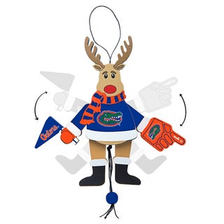 Florida Gators Wooden Cheering Reindeer Ornament
