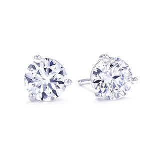 Suzy Levian 3-Prong Diamond Martini Stud Earrings
