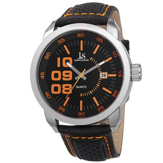 Joshua & Sons Men's Quartz Date Leather Orange Strap Watch
