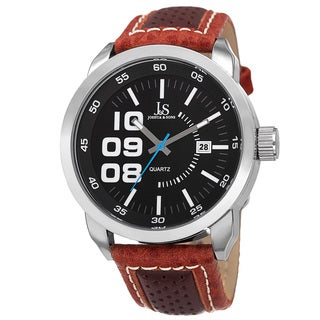 Joshua & Sons Men's Quartz Date Leather Brown Strap Watch