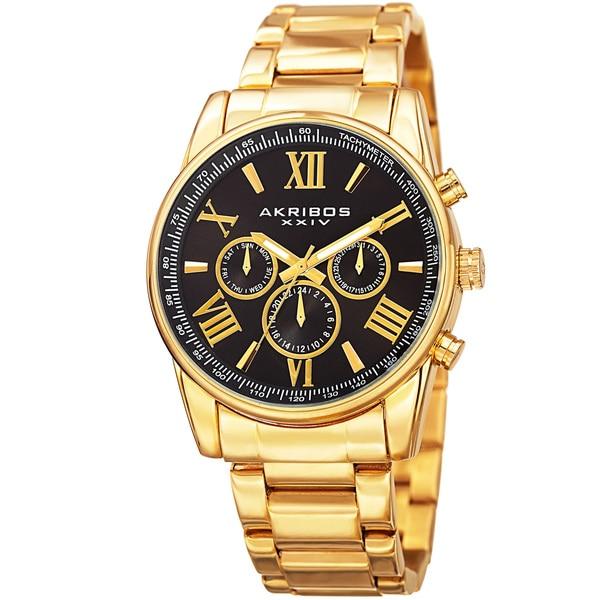 Akribos XXIV Men's Multifunction Tachymeter Stainless Steel Bracelet Watch - black