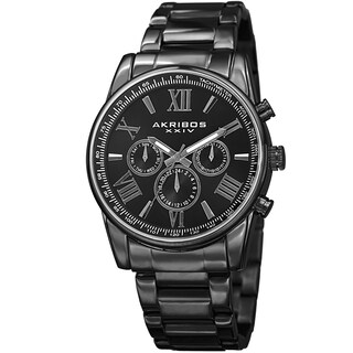 Akribos XXIV Men's Multifunction Tachymeter Stainless Steel Bracelet Watch - Black (4 options available)