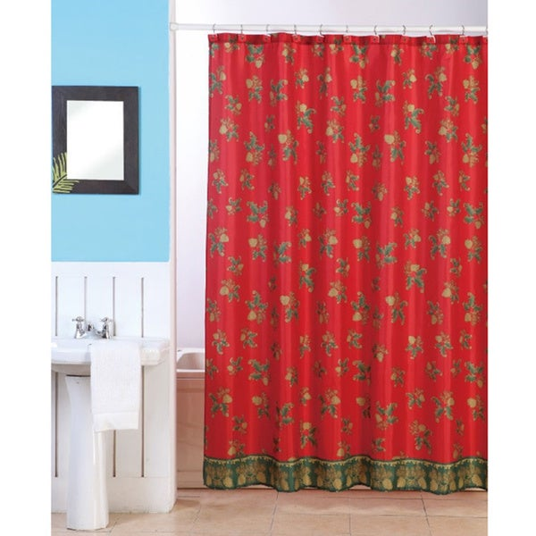 Christmas Holly Shower Curtain With Matching Hooks Free Shipping On Orders Over 45