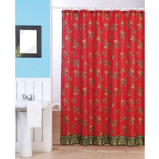 Christmas Holly Shower Curtain with Matching Hooks