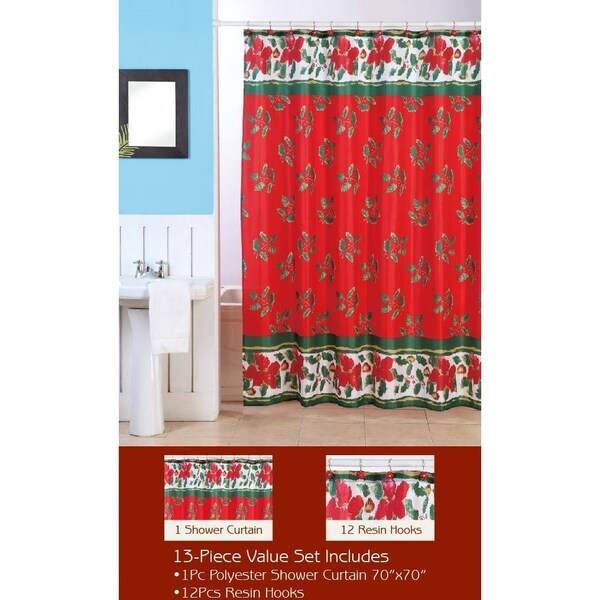 Christmas Mistletoe Shower Curtain with Matching Hooks
