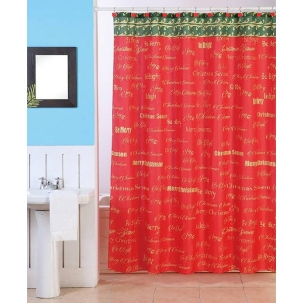 Merry Christmas Shower Curtain with Matching Hooks