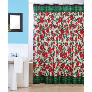 Christmas Poinsettia Shower Curtain with Matching Hooks