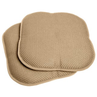 Taupe 16 Inch Memory Foam Chair Pad/Seat Cushion With Nonslip Backing (2