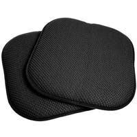 Black 16-inch Memory Foam Chair Pad/Seat Cushion with Non-Slip Backing (2 or 4 Pack)