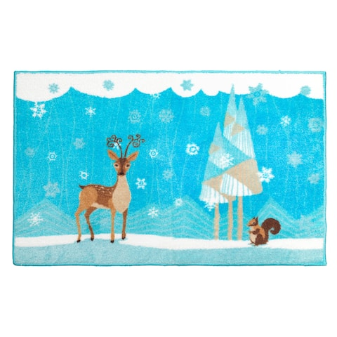 Forest Friends Holiday Themed Christmas Bath Rug - 19 x 34
