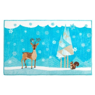 Lovely Forest Friends Holiday Themed Christmas Bath Rug