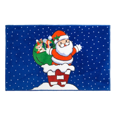 Up on the Rooftop Christmas Themed Holiday Bath Rug - 19 x 34