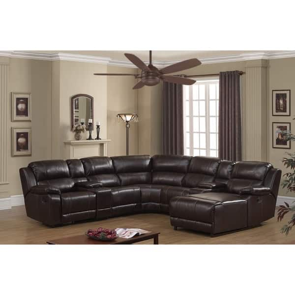 Shop Colton Dark Brown Bonded Leather Sectional Sofa - On ...