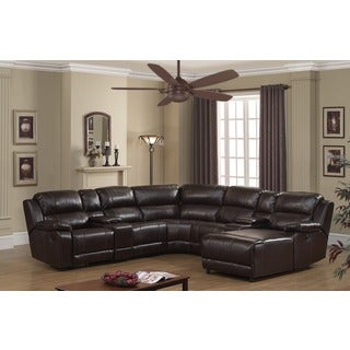 AC Pacific Colton Dark Brown Bonded Leather Recliner Sectional Sofa