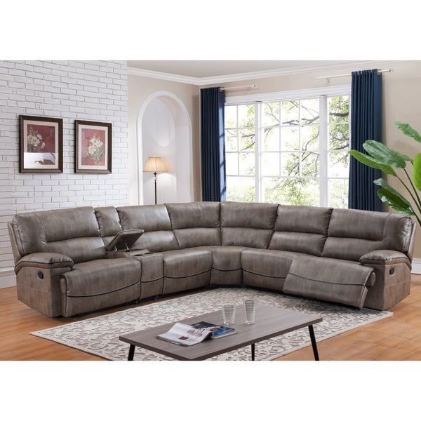 Shop Donovan Sectional Sofa With 3 Reclining Seats On